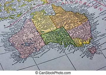 Australia with Tasmania on a vintage map - vintage map of...