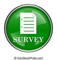 Survey icon - Round glossy icon with white design on green...