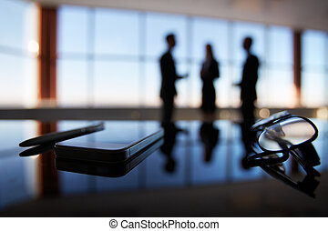 Business objects - Close-up of eyeglasses, cellular phone...