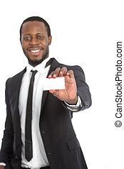 africano, hombre de negocios, presentación, el suyo,...
