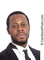 African businessman with a serious expression
