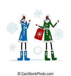 Girls in winter coat with shopping bag for your design