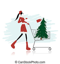 Santa girl with christmas tree in trolley
