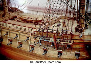 model boat - detail of a beautiful model galleon