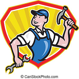 Carpenter Builder Hammer Spanner Cartoon - Illustration of a...