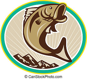 Largemouth Bass Jumping Circle - Illustration of a...