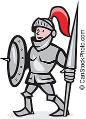 Knight Shield Holding Lance Cartoon - Illustration of knight...
