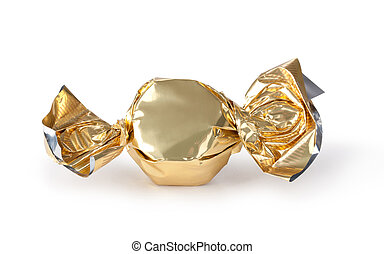 candy wrapper - candy in golden wrapper isolated on white