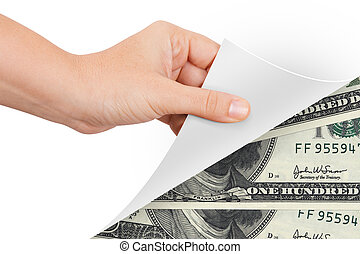 Hand Turning Page to Banknotes
