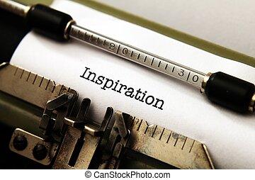 Inspiração, texto, Máquina escrever