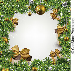 Christmas frame with fir branches and balls. - Christmas...