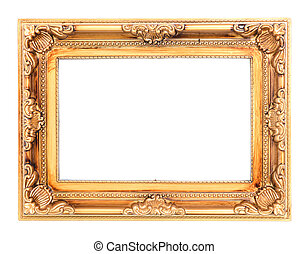 antique picture frame isolated before white background
