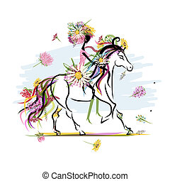 Floral girl on white horse for your design