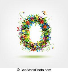 zero, floral, Número, seu, desenho