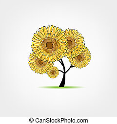 Tree with sunflowers sketch for your design