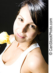 sexy woman with yellow rose