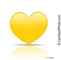 Yellow Heart, vector Illustration.