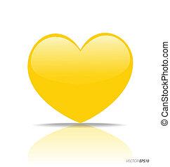 Yellow Heart, vector Illustration.
