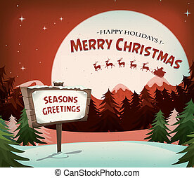 Happy Christmas Holidays Background - Illustration of a...