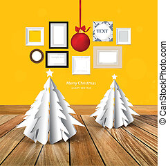 Merry Christmas greeting card with origami Christmas tree,...