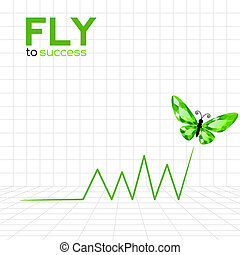 Success graphic with emerald butterfly Vector Illustration