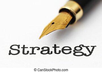 estratégia, texto, chafariz, caneta
