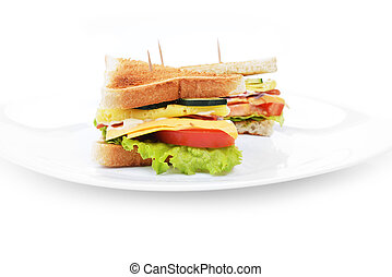 tasty sandwich - Fresh and tasty sandwich on white dish
