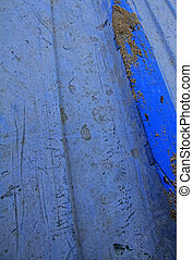 Blue Dinghy Close Up - A close up of the underneath of a...