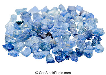 Blue sapphire - A pile of blue sapphire crystal on white