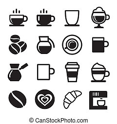 Coffee icon set on white. Vector illustration