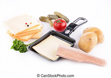 raclette cheese and tray