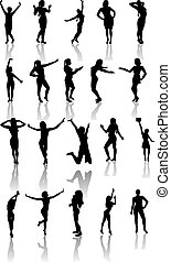 Set of silhouettes of dancing  and jumping girls.