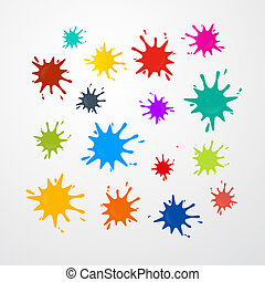 Colorful Vector Stains, Splashes Set