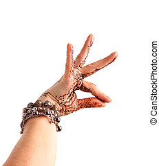 Female hand gesture of oriental dance Female hand with henna...