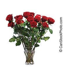 bunch of red roses - big bouquet of red roses isolated on...
