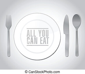 all you can eat plate restaurant illustration design over a...