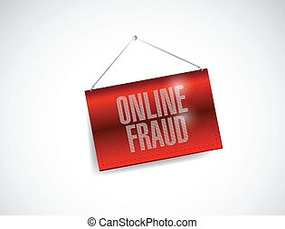 online fraud hanging banner illustration design over a white...