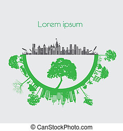 Print - modern city living concept. and ECO concept
