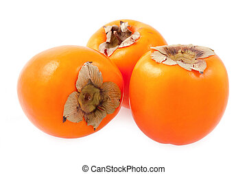 Persimmon fruit - Organic persimmon fruit - isolated on a...