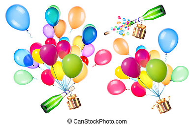 party concept with gift, champagne and flying balloons