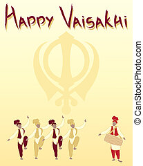 sikh festival - an illustration of a happy vaisakhi greeting...