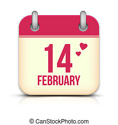 Valentines day calendar icon with reflection. 14 february
