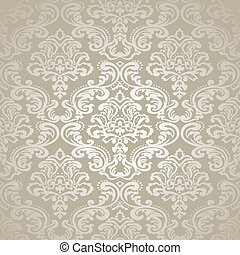 Damask vintage floral seamless pattern background - Damask...