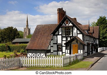 Worcestershire village - Cottage and church at Ombersley...