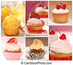 Collage of various cupcakes - A collage of delicious...