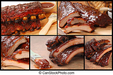 Collage of delicious BBQ foods - Collage showing a series of...