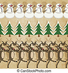 Christmas border lines - vector illustration