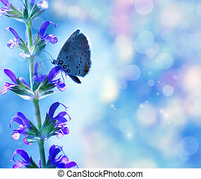 Bright summer background - Butterfly on the flower over blue...