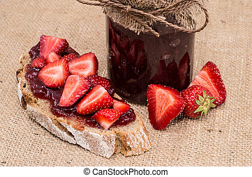Jar with Strawberry Jam