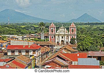 El Calvario Church in Leon, Nicaragua - Facade of El...